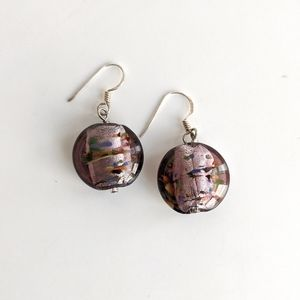 Pink and speckled Dichroic Glass & Silver earrings
